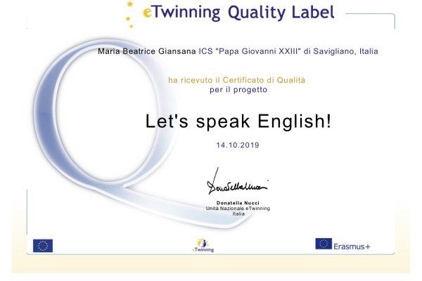 certificato etwinning